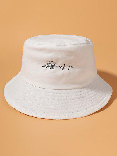 Beer Electrocardiogram Embroidered Cotton Bucket Hat - White