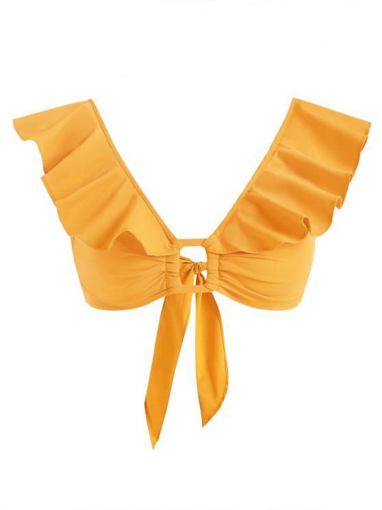 Blusa Recortada con Anillo Volantes - Amarillo XS