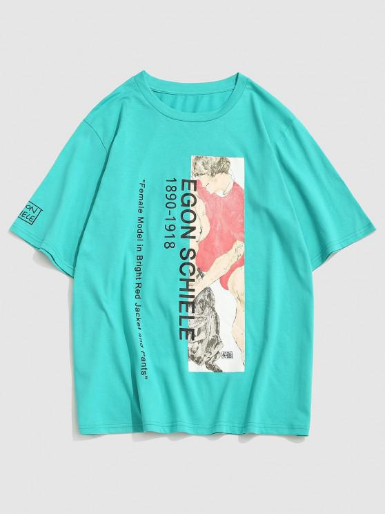 ZAFUL Letter Renaissance Art Print Graphic T-shirt - اخضر فاتح S