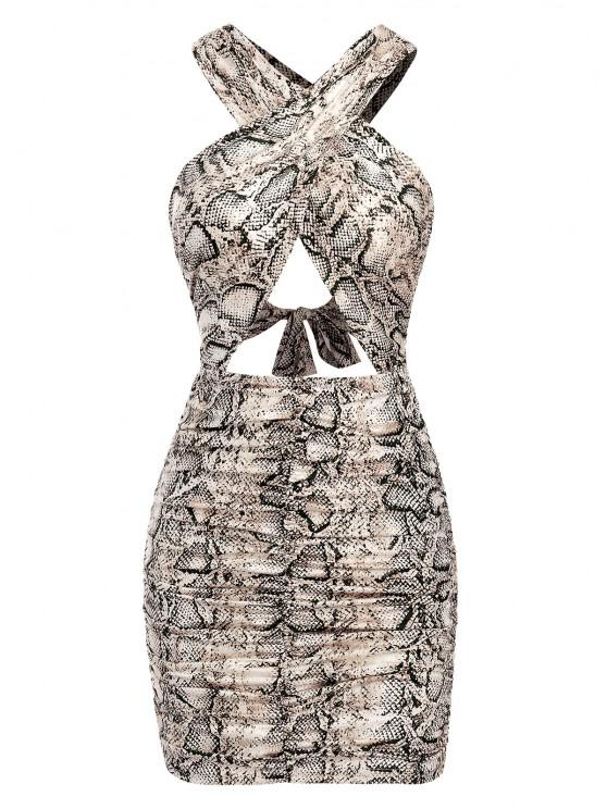 unique Ruched Cut Out Snake Print Slinky Dress - COFFEE M