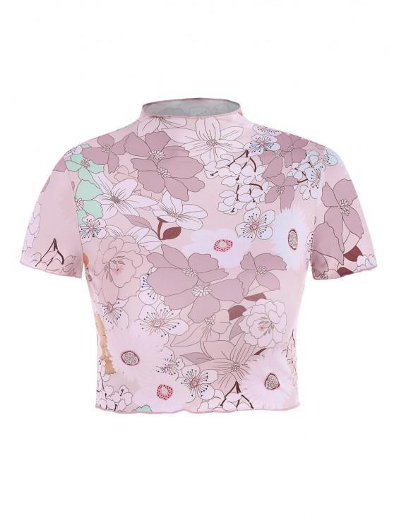 women's Floral Print Mock Neck Cropped Tee - LIGHT PINK L