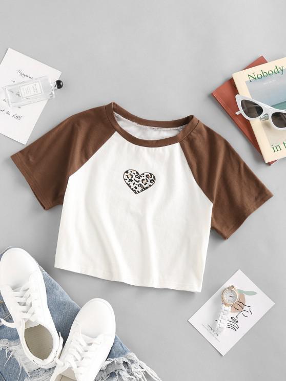 ZAFUL Camiseta de Manga Raglán con Estampado de Leopardo - Blanco M