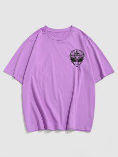 ZAFUL ET Print Short Sleeve T-shirt - Purple L