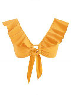 Ruffle Ring Knotted Crop Blouse - Yellow Xs