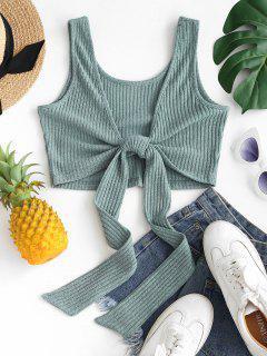 Ribbed Knit Knot Crop Tank Top - Green Xs
