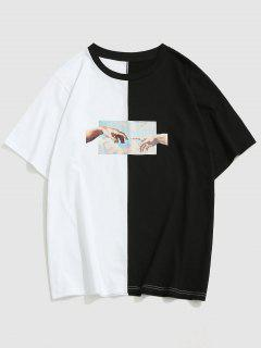 ZAFUL Hands Renaissance Art Print Contrast T-shirt - Black L