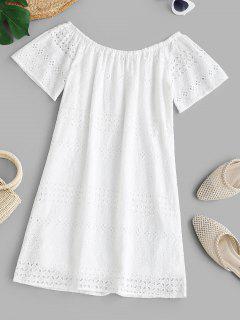 Vestido De Túnica Fuera Del Hombro Con Incrustaciones - Blanco M