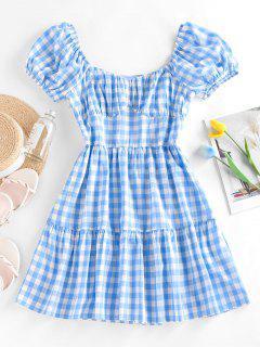 ZAFUL Gingham Puff Sleeve Tiered Dress - Light Blue S