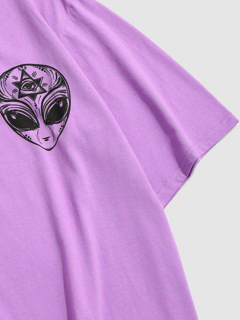 buy ZAFUL ET Print Short Sleeve T-shirt - PURPLE XL Mobile