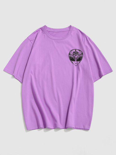 T-Shirt di ZAFUL Stampata Floreale con Maniche Corte - Viola XL Mobile