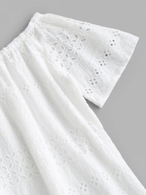 Broderie Anglaise Schulterfreies Tunika Kleid - Weiß L Mobile