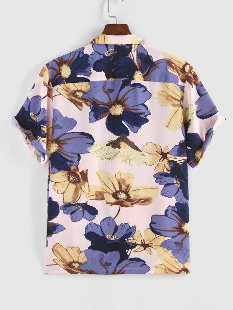 chic ZAFUL Flower Print Vacation Shirt - LIGHT PINK M Mobile