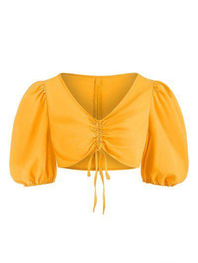 Blusa Recortada Cuello Atado Manga De Soplo - Amarillo S
