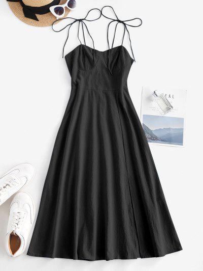 Tie Shoulder Shirred Back Split Hem Bustier Dress - Black Xl