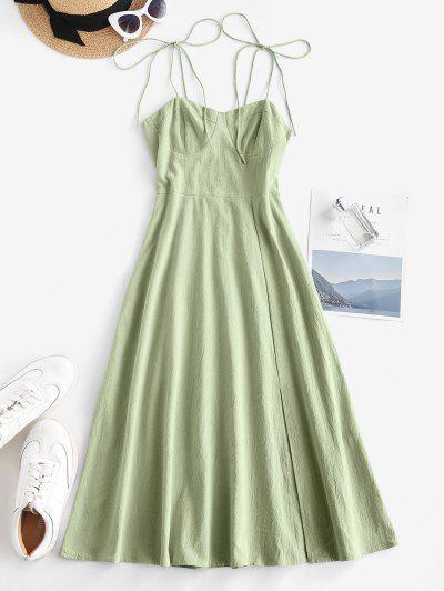 Tie Shoulder Shirred Back Split Hem Bustier Dress - Light Green M
