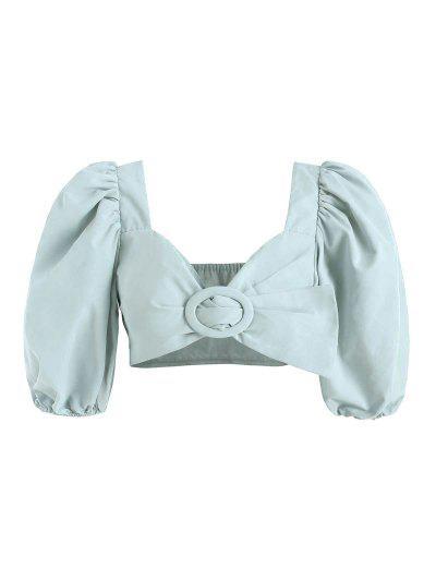 Puff Ärmel Ring Crop Milkmaid Bluse - Hellblau M