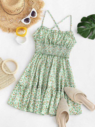 Ditsy Print Ruffle Smocked Criss Cross Dress - Light Green M