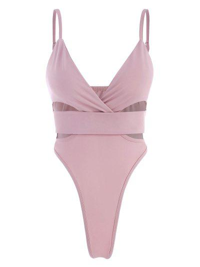 Tiefer Ausschnitt Bodysuit Mit Hohem Schnitt - Hell-pink M