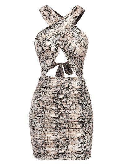 Geraffte Schlangenmuster Rutschfester Kleid - Kaffee M