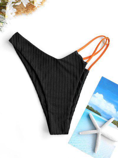 ZAFUL Ribbed Contrast Strap O Ring Bikini Bottom - Black S