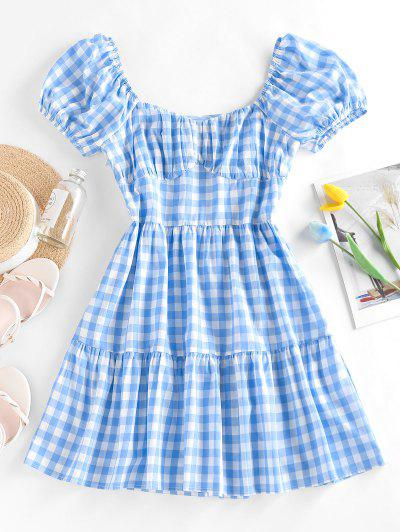 ZAFUL Gingham Puff Sleeve Tiered Dress - Light Blue M
