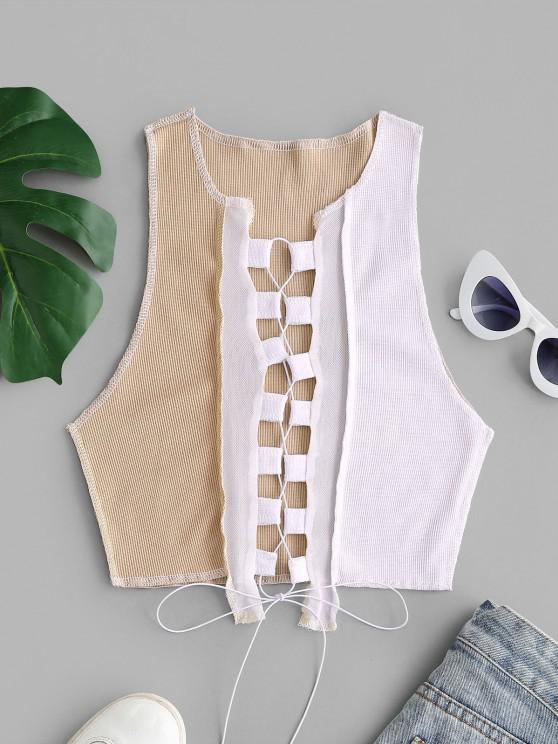 chic Mesh Panel Reverse Stitching Lace Up Two Tone Tank Top - LIGHT COFFEE S