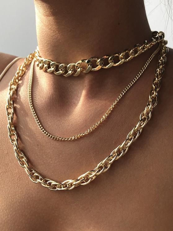 new 3Pcs Punk Thick Chain Necklace Set - GOLDEN