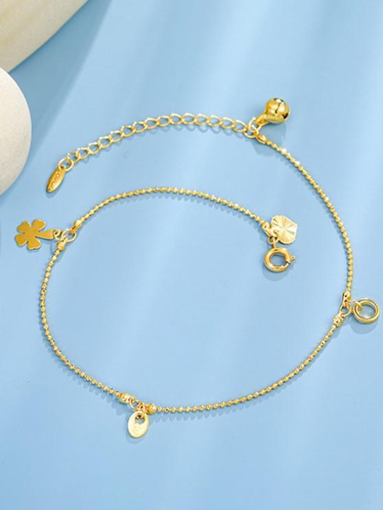 Clover Bell Pendant Gold Plated Anklet - ذهبي