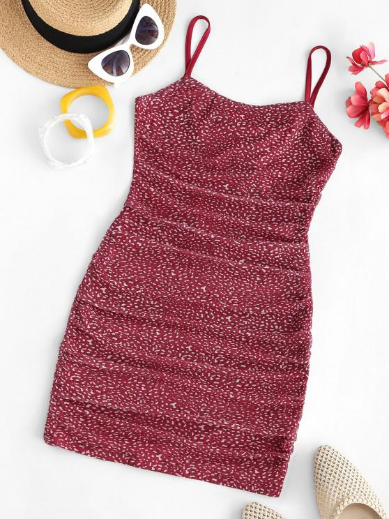 ladies Mesh Ditsy Print Backless Ruched Cami Dress - RED S