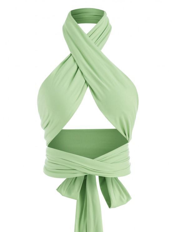 unique Tie Back Criss Cross Wrap Crop Top - GREEN ONE SIZE