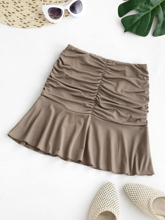 hot Ruched Ruffled Hem Mini Skirt - COFFEE S