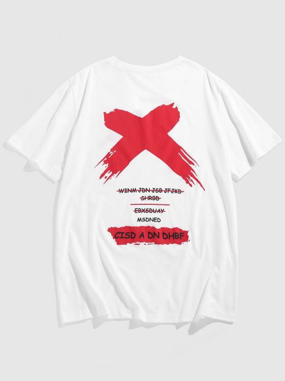 latest ZAFUL Cross Letters Print Graphic T-shirt - WHITE M