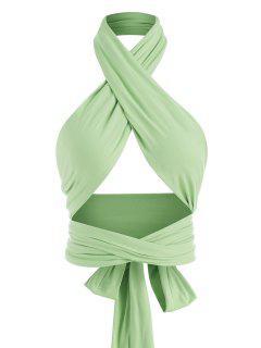 Tie Back Criss Cross Wrap Crop Top - Green