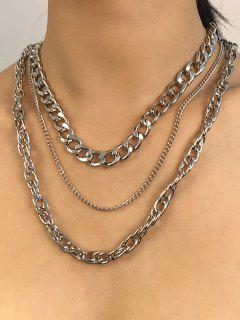 3Pcs Punk Thick Chain Necklace Set - Silver