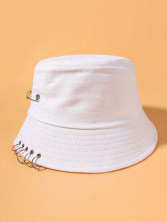 Pin Ring Embellished Cotton Bucket Hat - White