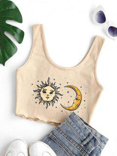 Cropped Sun Star And Moon Tank Top - Light Coffee M