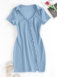 ZAFUL Loop Button Slit Mini Bodycon Dress - Light Blue M