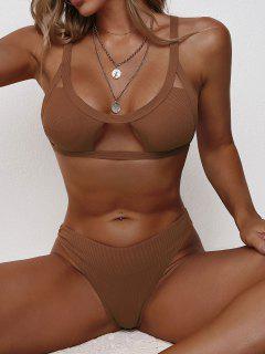 ZAFUL Ribbed Cutout Brazilian Bikini Swimwear - Deep Coffee L
