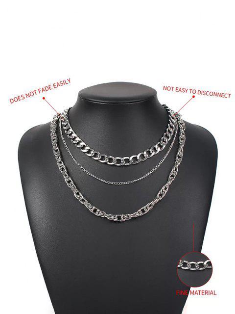 3Pcs Punk Dicke Kette Halskette Set - Silber  Mobile