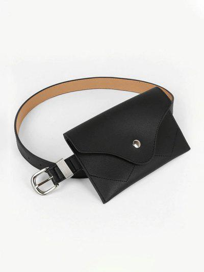 Minimalistic Square Buckle Belt With Bag - Black