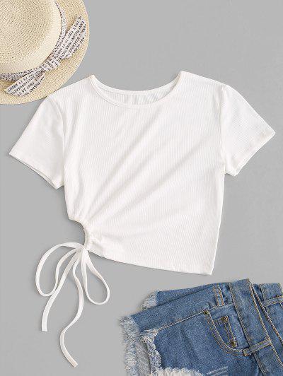 Rib-knit Waist Cutout Tie Crop Top - White S