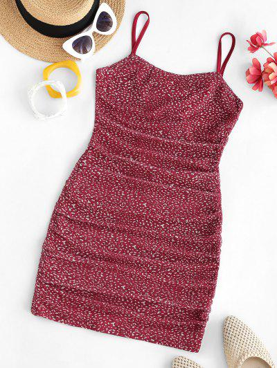 Mesh Ditsy Print Backless Ruched Cami Dress - Red L