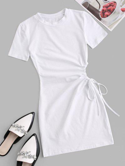 Waist Cutout Tie Bodycon Tee Dress - White M