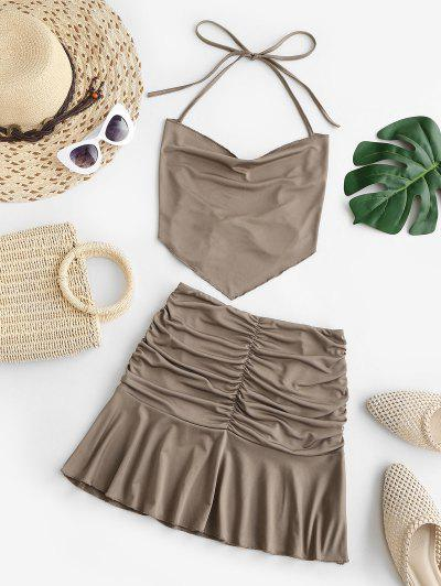 Tie Open Back Napkin Top And Ruched Skirt Set - Coffee S