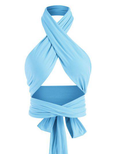 Gebundener Kreuzer Und Querer Wickel Crop Top - Helles Blau