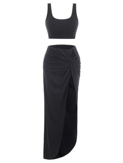 2pcs Marled Tank Top And Twist High Slit Skirt With Briefs - Black M