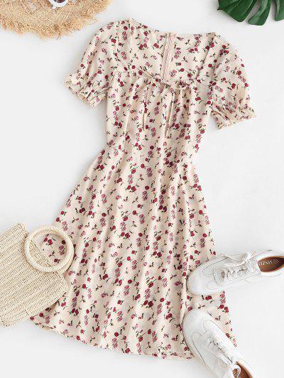 Flower Keyhole Puff Sleeve Ruffle Dress - Light Pink S