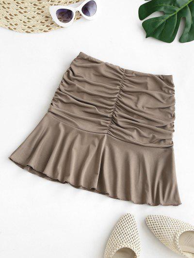 Ruched Ruffled Hem Mini Skirt - Coffee L