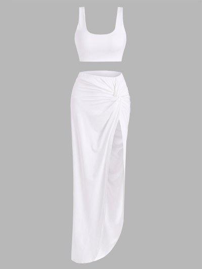 2pcs Marled Tank Top And Twist High Slit Skirt With Briefs - White S