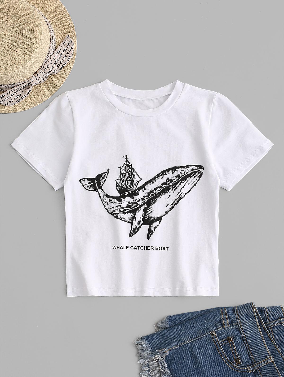 T-shirt Bateau Baleine Graphique pour Bébé - ZAFUL - Modalova
